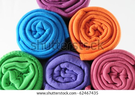 Colorful blanket roll.