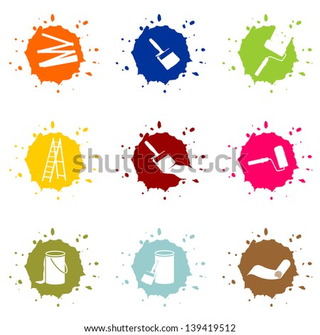 colorful blob buttons for painters, house painter - stock photo
