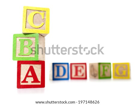 Colorful block letters in a row and in a stack.