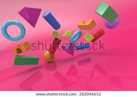 colorful block toys cracked down - stock photo