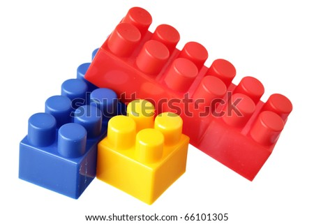 Colorful blocks isolated over the white background - stock photo