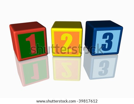 Colorful blocks with 123 numbers, reflected on the floor. - stock photo