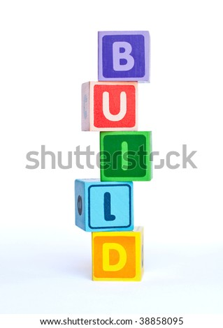 "Colorful blocks with the word ""build"""