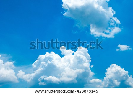 Colorful blue sky with white clouds in the daytime - stock photo