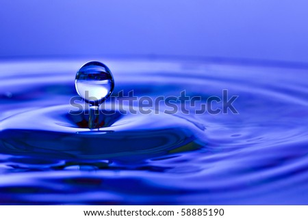 Colorful blue water drop and splash