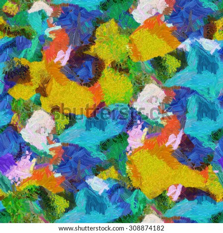 Colorful blue yellow patches abstract seamless texture oil brush painting