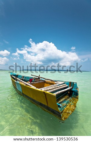 Colorful boat on a tropical Indian Island