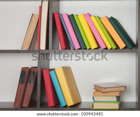 colorful book  on the bookshelf