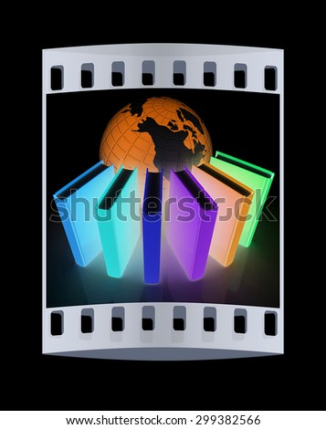 Colorful books and earth on a black background. The film strip