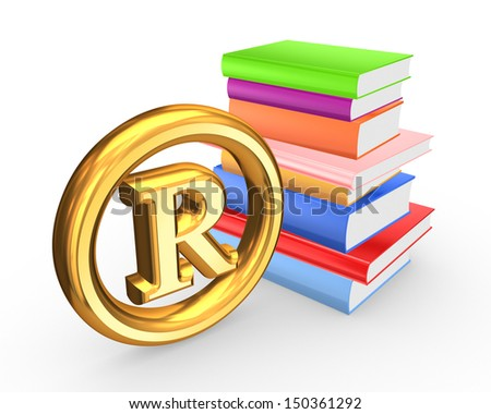 Colorful books and symbol of copyright.Isolated on white.3d rendered. - stock photo