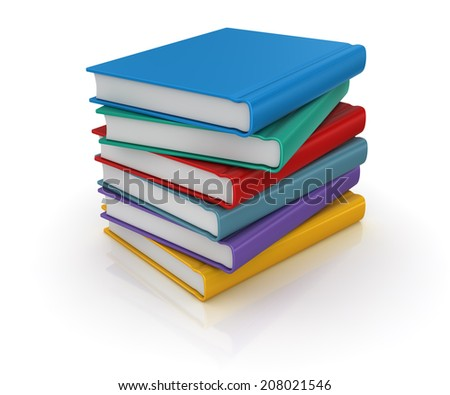 Colorful books , computer generated image. 3d render.