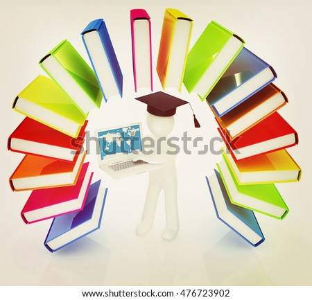 Colorful books like the rainbow and 3d man in a graduation hat with laptop on a white background. 3D illustration. Vintage style.