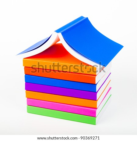colorful books  Stack like home - stock photo