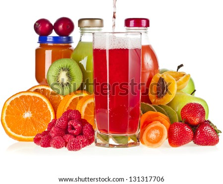 Colorful Bottles juice with fresh berries and fruits isolated on white background - stock photo