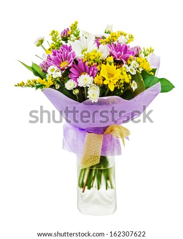 Colorful bouquet from gerbera flowers in vase isolated on white background. - stock photo
