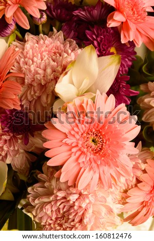 Colorful bouquet from gerbera flowers isolated on white background. Closeup. - stock photo