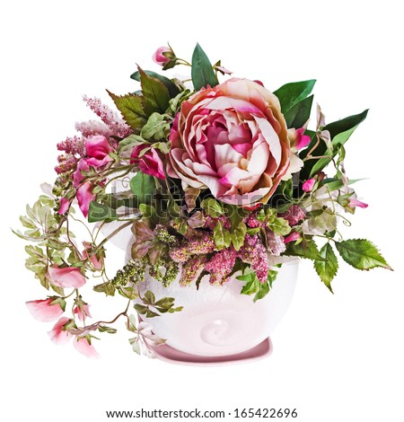Colorful bouquet from roses and peon flowers in vase isolated on white background. Closeup. - stock photo