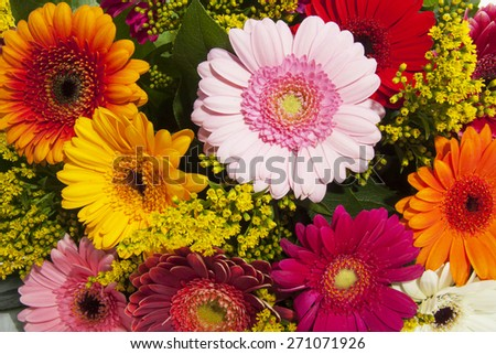 Colorful bouquet with gerbera's for background use - stock photo