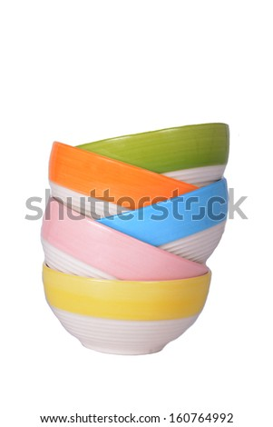 Colorful bowl isolated - stock photo
