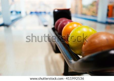 Colorful bowling balls - stock photo