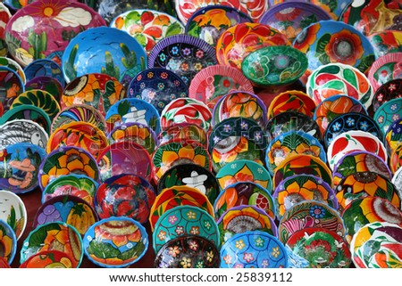 Colorful bowls for sale in market at Chichen Itza, Mexico - stock photo