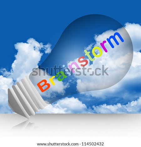 Colorful Brainstorm Text Inside The Light Bulb For Business Concept in Blue Sky Background