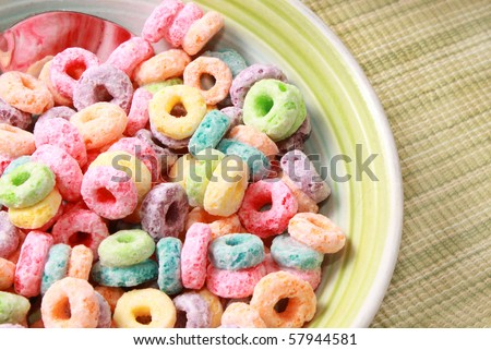 Colorful breakfast cereal - stock photo