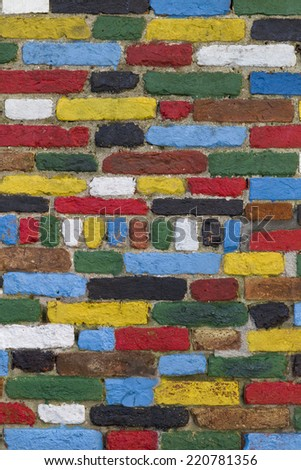 Colorful Brick Wall. Background Texture