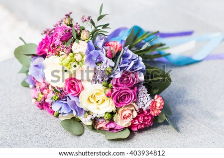 Colorful bridal wedding bouquet