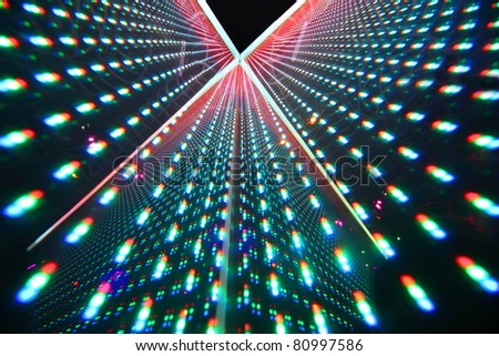 colorful bright illumination in nightclub, rows of bright lights - stock photo