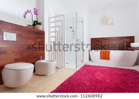 Colorful bright modern bathroom with red carpet