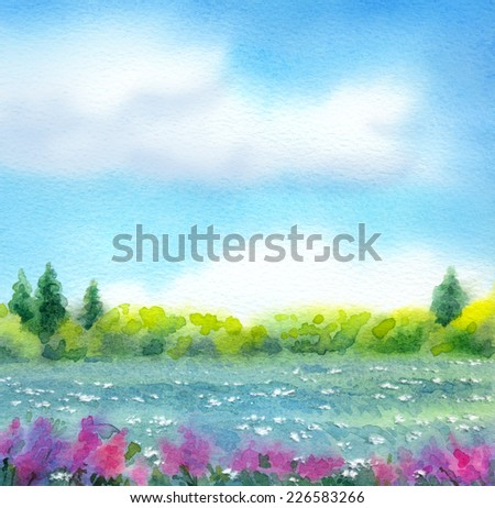 "Colorful bright watercolor on paper backdrop with space for text. Series ""Different seasons"". White cumulus clouds in blue sky over bluish valley with wildflowers and lush thicket with firs on horizon - stock photo"