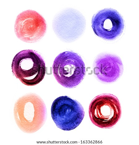 Colorful brush stroke in the form of a circle. Drawing created in a sketch handmade technique. Isolated shapes on white background.  - stock photo