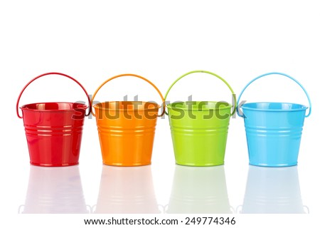 colorful buckets isolated on white background. - stock photo