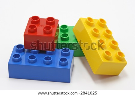 colorful  building blocks on white background - stock photo