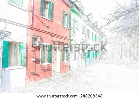 colorful building facade in Burano, Italy.  - stock photo