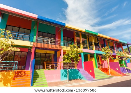 colorful building of resort on Kohlan, Pattaya, Thailand. - stock photo