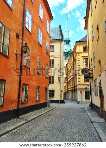 Colorful buildings in Gamla Stan, the old center of Stockholm. - stock photo