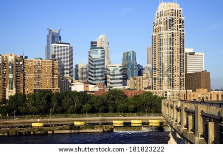 Colorful Buildings in Minneapolis, Minnesota. - stock photo