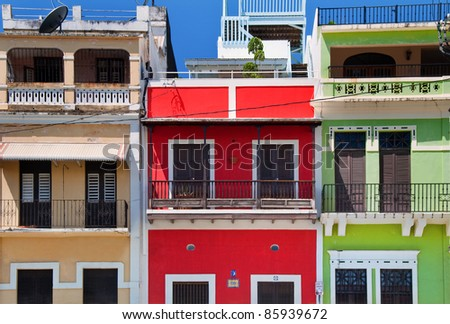 Colorful buildings in Old San Juan - stock photo