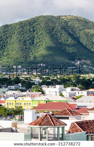 Colorful buildings in the port city of Basseterre on St Kitts in the Caribbean