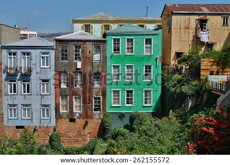 Colorful buildings in the seaport of Valparaiso, Chile - stock photo