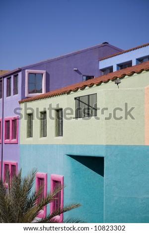 Colorful buildings of La Placita in downtown Tucson, AZ - stock photo