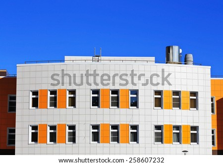 Colorful buildings wall of a new house - stock photo