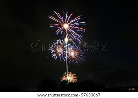 colorful bursts of fireworks - stock photo