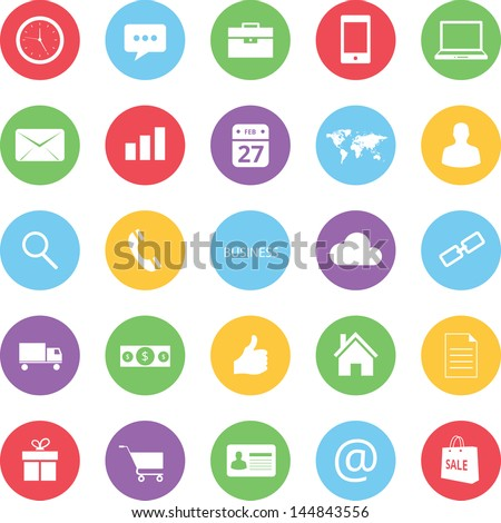 colorful business and ecommerce icons set bitmap copy