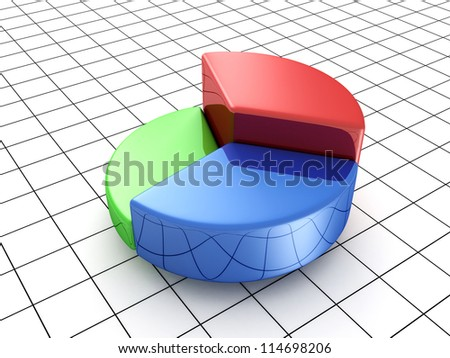 colorful business pie graph with three parts - stock photo