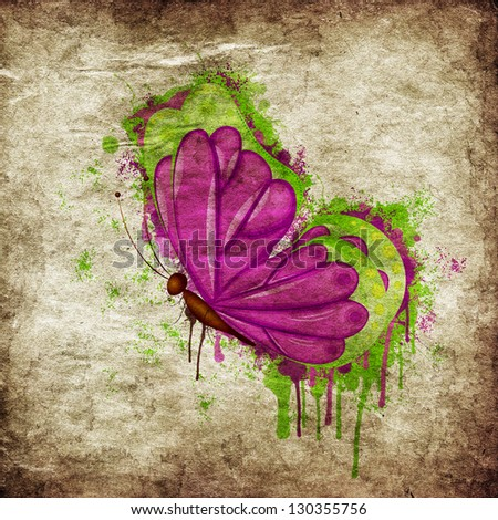 Colorful butterfly melted in paint on grunge paper background. - stock photo