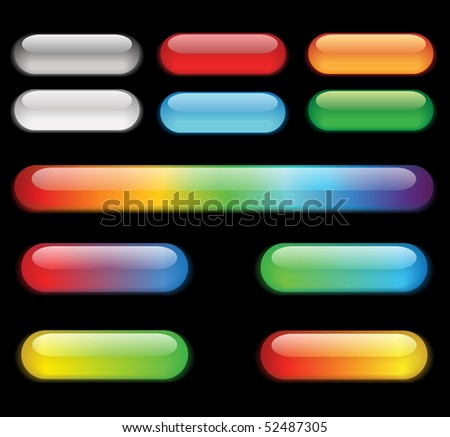 Colorful buttons on a black background. - stock photo