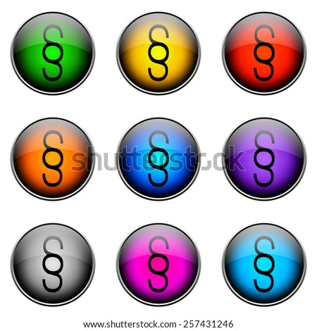 Colorful buttons with different topics. Button Color PARAGRAPH - stock photo